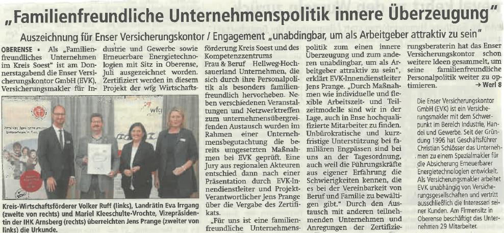 Zeitungsartikel Zertifizierung Familienfreundliches Unternehmen