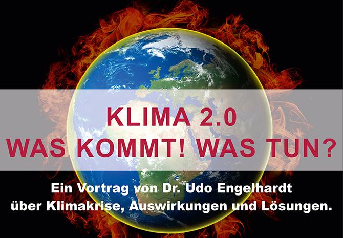 Plakat für Klimavortrag Erde in Flammenkranz
