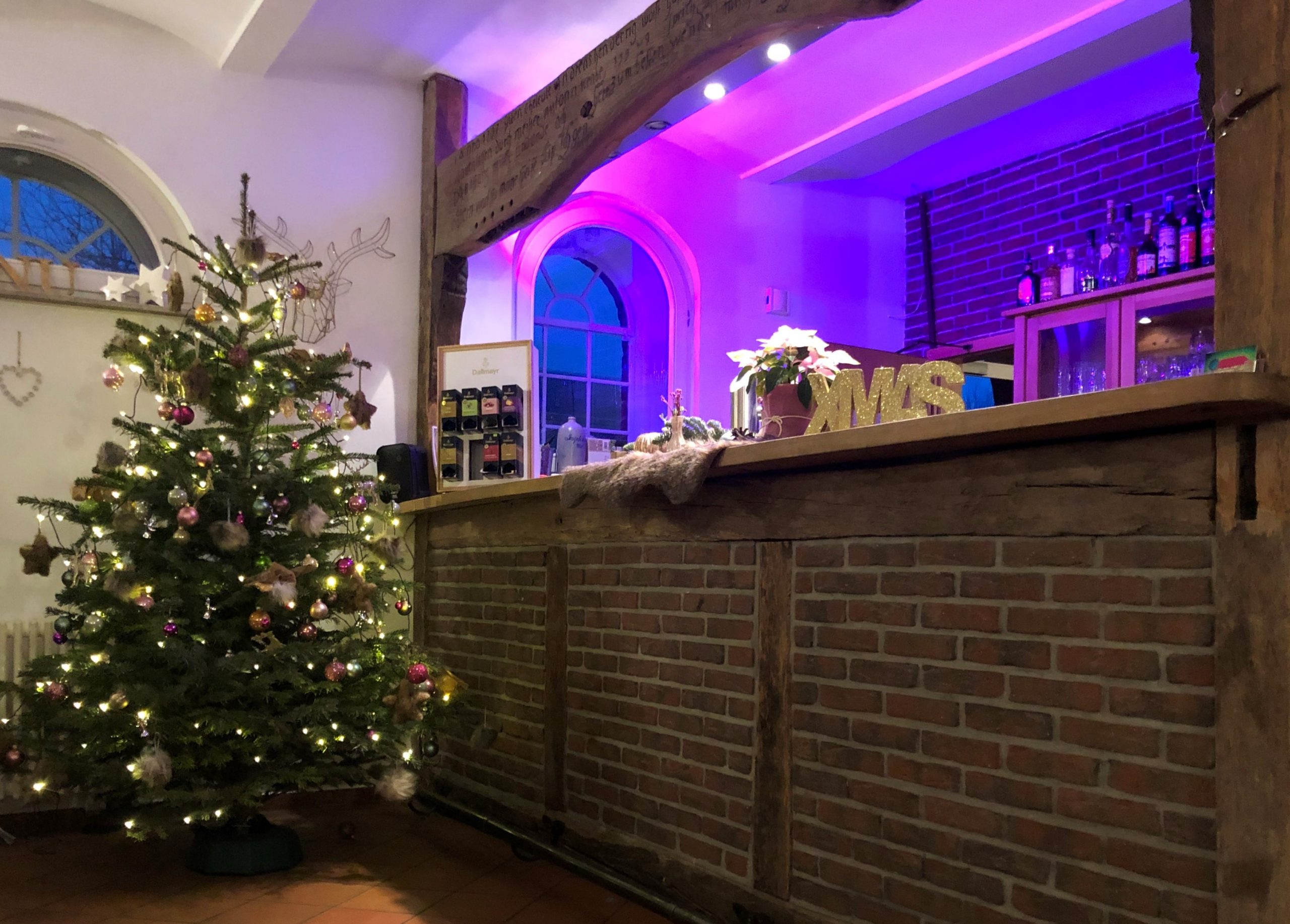 Tannenbaum vor beleuchteter Bar